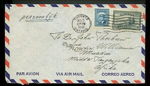 25 cent airmail to TANGANYIKA, 1949 PEACE ISSUE w/receivers cover Canada