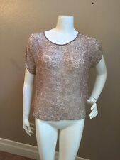 Paper Crown 100% Silk Taupe/Beige Floral Pattern Sheer Cap Sleeve Crop Top Sz S