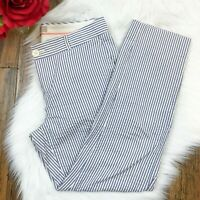 Banana Republic Women's Martin Fit Blue Striped Preppy Seersucker Pants Size 4