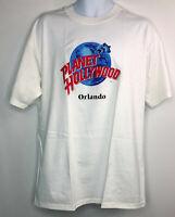 Vintage Planet Hollywood Large White Orlando T Shirt USA Cotton Crew Neck