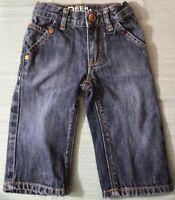 Peek Dungarees Baby Boy's Sz 3-6M Denim Blue Jeans Adjustable Waist Zip Snap EUC