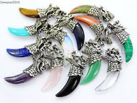 Natural Gemstones Claw Paw Tibetan Silver Carved Dragon Head Pendant Charm Beads
