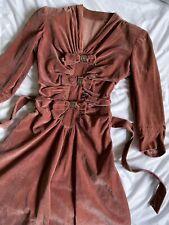 New listing Vintage 1940s salmon pink cotton velvet ribbon bow dress
