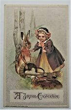 Big RABBIT Shows Little GIRL EASTER Eggs Embossed Silvery Winsch Postcard