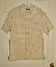 COLUMBIA SPORTSWEAR OFF WHITE WITH TAN/ORANGE ACCENT PLAID SIZE L