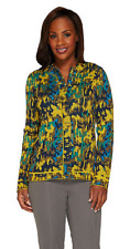 Isaac Mizrahi Live! Abstract Animal Jacquard Zip Cardigan, Size XS, MSRP $73