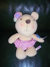 Doudou Fisher Price Peluche Ours Grelot Beige Jupe Rose a Pois  ETAT NEUF
