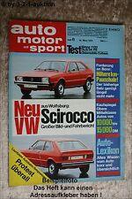 AMS Auto Motor Sport 6/74 VW Scirocco Cutlass Datsun 240 Mini Moke