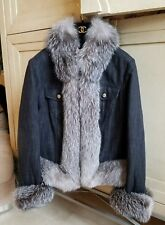 5.4k NWOT ESCADA GENUINE BLUE FROST PLUSH FOX BLACK JEAN JACKET QUILTED LINED 40