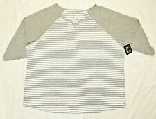 JMS Just My Size Plus 3/4 Sleeve Striped V Notch Neck Tee 2X White/Lt Steel NWT