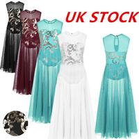 UK Girls Praise Lyrical Dance Leotard Dress Floral Lace Performing Maxi Dress