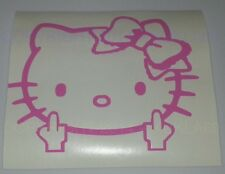Hello Kitty Head Face Bow Middle Finger Vinyl decal sticker car-bumper-window