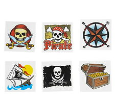 """12 Pirate Theme 2"""" Tattoos Birthday Party Favor Goody Bags Bulk  Carnival"""