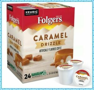 (Lot of 2) FOLGERS CARAMEL DRIZZLE COFFEE K-CUP PODS Medium Roast 48 count