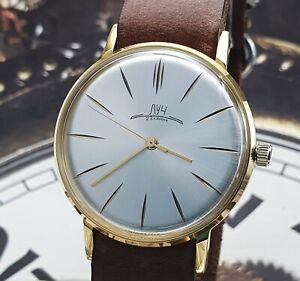 LUCH Poljot De Luxe Dress ULTRA SLIM Silver Dial Mechanical Watch Vintage Style