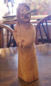 """Michael"" Miguel Salazar Taos NM Folk Art Carved Wood Christ Figure Dtd 12/1995"