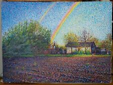 ORIGINAL OIL Painting Hand painted rainbow Landscape Artwork wall ART decor