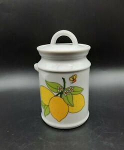 Vintage White Ceramic Jam Jar w Lid Yellow Lemons Flowers Bee No Spoon
