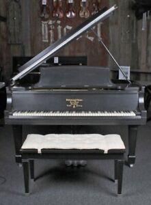 "Steinway & Sons 1912 Model O Grand Piano 5' 10"" Satin Ebony with Bench"