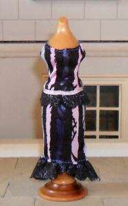 1/12TH SCALE DOLLS' BLACK, PINK  AND BLUE DRESS