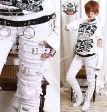 Punk Rock SKinny Distress Fray Raw Edge Patch Stretch White Denim Jeans Pants M