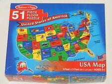 "MELISSA & DOUG ""USA Map"" 3 Feet x 2 Feet Floor Jigsaw Puzzle 51 Pieces"
