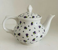 Dresden Porcelain Mini White Teapot With Purple Flowers