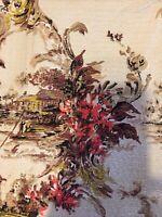 Vintage Barkcloth Vat Print Mid Century Curtain Panels