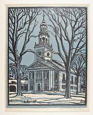 Original WENDEROTH SAUNDERS (1901-1992) Maine Massachusetts MA Church Woodblock