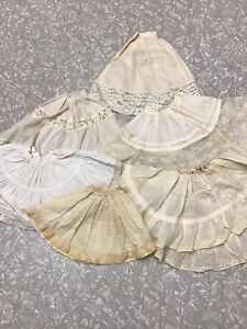 Vintage Lot Of Doll Dress Slips WHITE Baby Bisque French German   (H)
