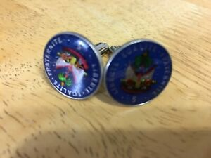REPUBLIC OF HAITI ENAMEL CUFFLINKS PAINTED COIN JEWELRY SET OF (2) QTY AVAIL