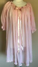 VTG 60s Pink Baby Doll Nightie Sheer Nylon Women's Medium Sleepwear