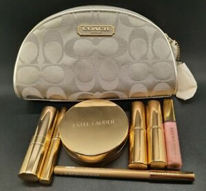 COACH•Estee Lauder Gold Limited Edition Makeup Cosmetic Bag w/All Contents New
