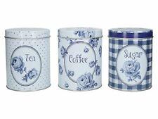 Katie Alice Vintage Indigo Tea, Coffee And Sugar Tins