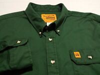 Wrangler Mens 2XL Long Sleeve Button-Down Solid Green Fire Resistant Shirt