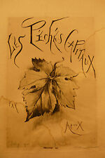 Joseph Apoux Print Etching Les Peches Capitaux Joly Bookseller Quai St. Michel