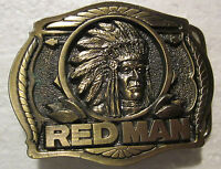 RED MAN CHEWING TOBACCO-3-D-NEW-1988 Heavy SOLID BRASS**BELT BUCKLE<BTS Buckle>