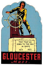 Gloucester, MA  Memorial -Vintage-Style Travel Decal