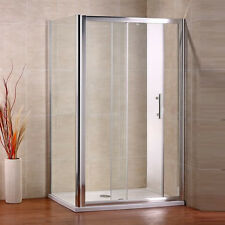 1400x760mm Sliding Walk In Shower Enclosure Glass Screen Cubicle Door+Side Panel