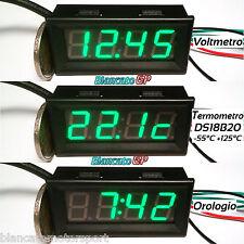 3in1 VOLTMETRO TERMOMETRO OROLOGIO da pannello LED VERDE 0-33V DS18B20 auto moto