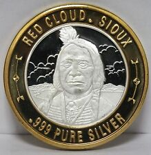 Red Cloud Sioux Limited Native American Series .999 Silver Casino Token - JV700