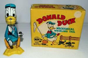 "RARE EX! BOXED SET:DISNEY 1950's DONALD DUCK ""WHIRLING"" TAIL LINEMAR WIND UP TOY"