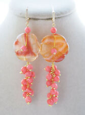 Z11001 30mm Red Flower Pink Coral Agate bead Dangle Earring CZ