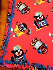 Handmade Novelty FLEECE TIE-BLANKET Coral Blue Swag Skateboard 58X72 2 layers