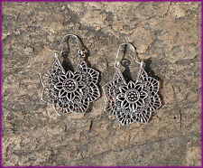 MANDALA FLOWER EARRINGS, SILVER METAL, BRASS, TRIBAL, ETHNIC, HIPPY BOHO, GOA