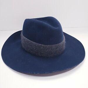 Rag & Bone NY 100% Wool Fedora Hat Navy Dark Blue EUC Wide Brim Medium Hand Made