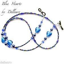 ✫ Azul Corazones ✫ Beaded recetadas gafas gafas gafas Cadena Porta Cable