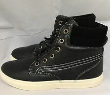 black high tops Pumps Leather Look White Detail Size 7 Ladies