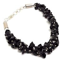 Large Black Tourmaline Gem Chip Bracelet Gemstone Bead Protective Gift Boxed