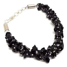 Black Tourmaline Gem Chip Bracelet Large Clasped Gemstone Protective Jewellery